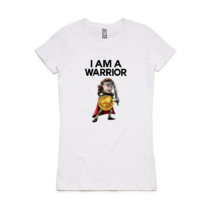 Double Sided I Am A Warrior Girl - Women's Wafer T shirt