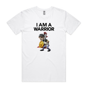 Double Sided I Am A Warrior Guy - Mens Staple T shirt